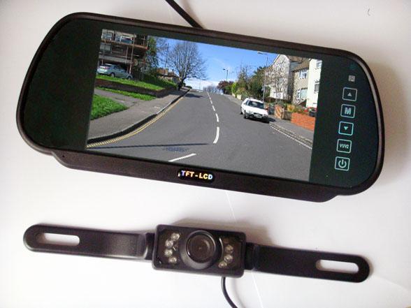 "best selling New 7"" Car LCD Monitor Mirror + IR Reverse Car Rear View Backup Camera Kit"