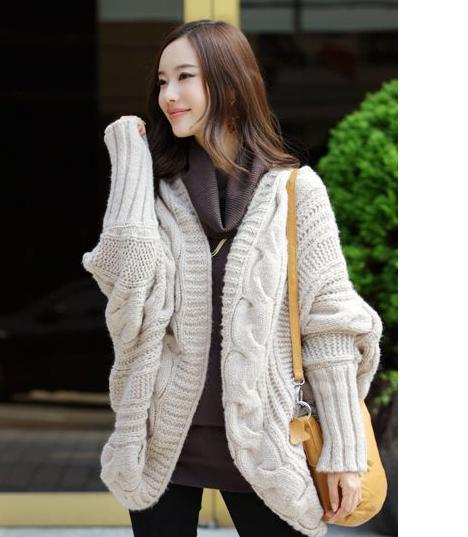 2018 Chic Cloak Sweater Women's Plaited Knitting Loose Batwing ...