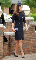 Wholesale Kate Coat - Woolen double breast Princess coat kate middleton coat color blue white trench coat