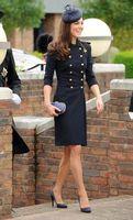 yünlü hendek katları toptan satış-Yün çift meme Prenses ceket kate middleton coat renk mavi beyaz trençkot