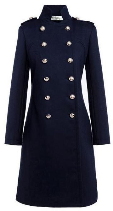공주님 코트 케이트 미들 코트 털이 더블 유방 코트 블루 화이트 트렌치 코트