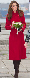 Wholesale Middleton Coat - Woolen winter princess long coat design kate middleton women fashion trench coat