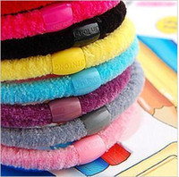 Wholesale Velvet Hair Accessories - 100pcs lot Elastic Band Mixed Color Velvet Elastic Hair Band Rope Hair Accessory For Girl woman