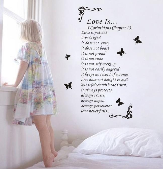 Love Is Love Poems Letters Of The Alphabet Wall Stickers Tv Setting Stickers  Home Decorative Large Wall Decals Cheap Large Wall Decals For Kids From ...