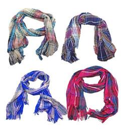 Scarf Square Cotton Australia - New Coming Fashion Accessories Cotton Strip Pane Design Shawl Wrap Scarf Corrugated Square scarf 5colors mix