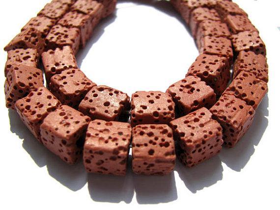assortiment de cubes carrés rouge assortiment de pierres précieuses de lave volcanique bijoux 10mm-2strands 80pcs