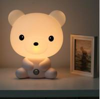Wholesale Sleeping Bear Cartoon - Free Shipping 1 Piece New Bear Cartoon Baby Room Night Sleeping Lamp