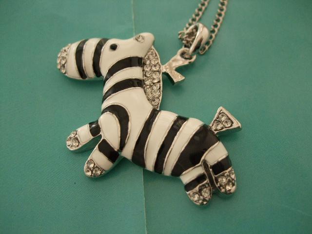 Zebra Pendant Necklace...
