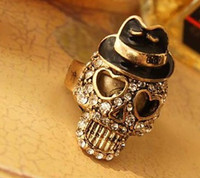 Wholesale Mr Rings - Skull Ring Fashion Jewelry Retro Cute Shinning Mr Skell Head Finger Ring Jewelry Alloy 10pcs lot A2-