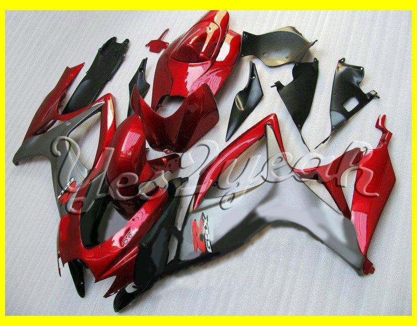 Red Grey Fairing body kit for SUZUKI GSXR600 750 06 07 Bodywork GSXR 600 GSXR 750 K6 2006 2007 Fairings set+gifts