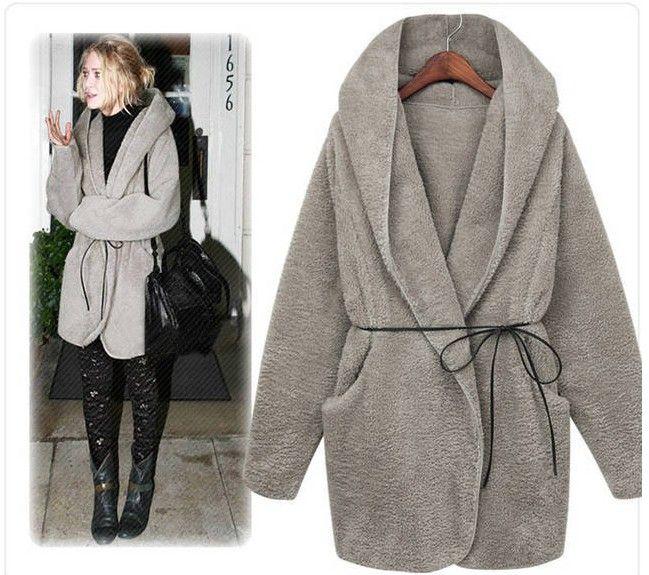 2018 Women Is Long Sleeve Hooded Artificial Wool Cardigan Coat ...