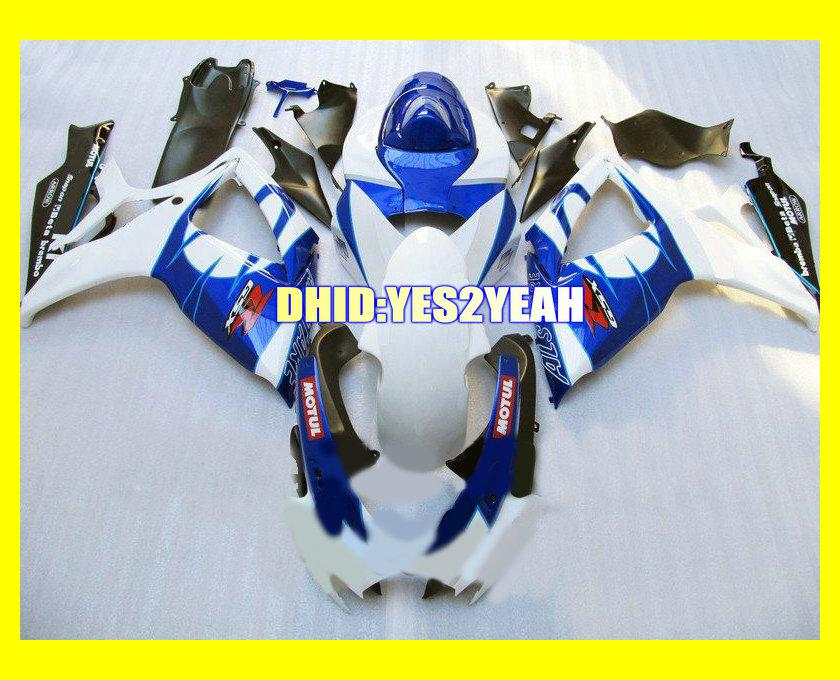 Kit de corpo de Carenagem Branco Azul personalizado para SUZUKI GSXR600 750 06 07 Carroçaria GSXR 600 GSXR 750 K6 2006 2007 Carenagens