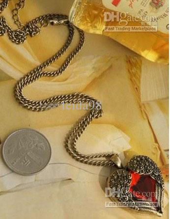 Vintage Red Diamond Peach Heart Wings collares largos con collar de suéter de rubí collar