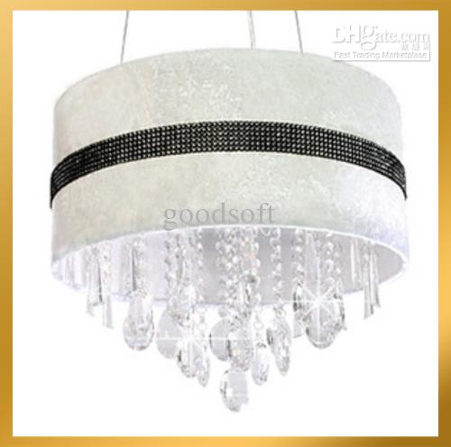 fabulous drum pendant light fixtures living room | Modern White Crystal Drum Chandelier Light Pendant Lamp ...