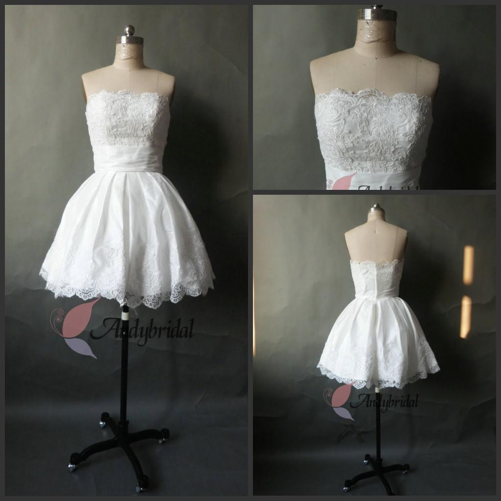 Discount 2016 Short Wedding Dresses Little White Dresses Strapless