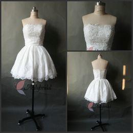 Wholesale Cheap After Dresses - 2016 Short Wedding Dresses Little White Dresses Strapless After Reception Dress A-Line Bridal Dress with Appliques Cheap Beach Wedding Gowns