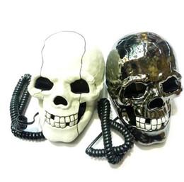 Venta al por mayor de Envío gratis 1 unids / lote nueva novedad increíble cráneo diseño con cable teléfono teléfono