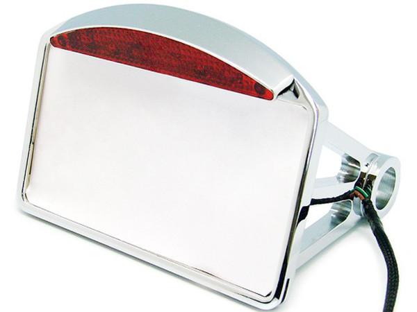 best selling Chrome License Plate Frame LED Integrated Tail Light Brake Motorcycle Chopper Bobber