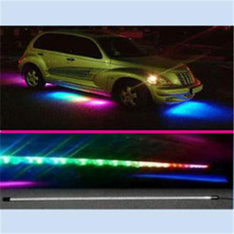 Car Led Glow Lights Canada - RGB Flash Under Glow Lamp 7 Colors Pattern Car Truck Decoration LED Strobe Light with Remot
