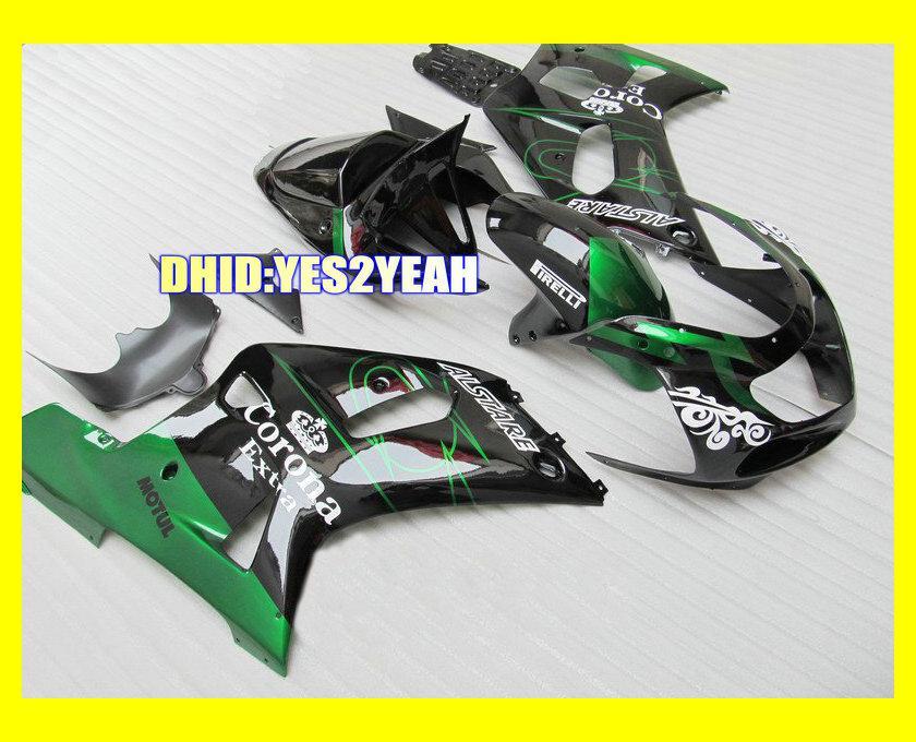 Motorcykel Fairing Body Kit för Suzuki GSXR600 750 2001 2002 2003 GSXR 600 GSXR750 K1 01 02 03 Gröna svarta Fairings Set SD25