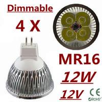 Wholesale Mr16 Pure White - 4pcs lot CREE MR16 9W 12W 15W Dimmable led bulb Led Light Lamp Spotlight led bulb Warm Pure Cool White