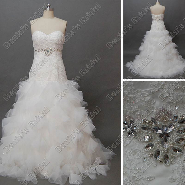 2012 Modest Fit N Flare Sweetheart Beaded Lace Puffy Wedding Dress ...