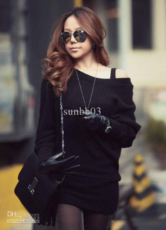 2018 Hot Korea Fashion Womens Slim Off Shoulder Long Tops Knitted ...