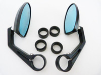 Wholesale Cnc Bar End Mirrors - FREE SHIPPING TOP QUALITY BLACK CNC CAFE RACER BAR END MIRRORS REAR REVERSE SIDE VIEW MIRRORS