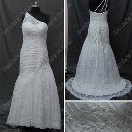 Wholesale One Shoulder Beach Dress - 2016 Mermaid Lace Eleanor Wedding Dresses One Shoulder Ruched Corset Real Actual Images Lace up Bridal Gowns