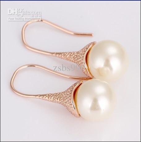 새로운 고품질 도금 18K는 황금 담수 진주 드롭 귀걸이 패션 탑 보석을 장미