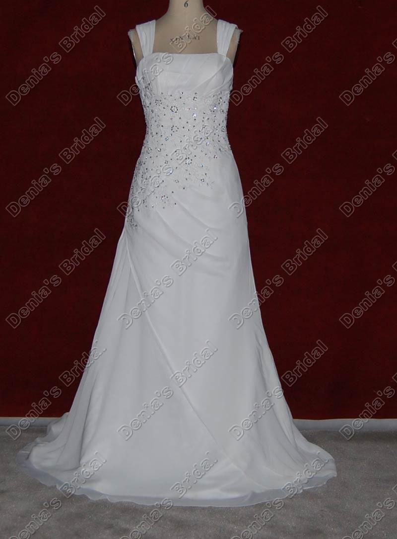 2012 una línea de gasa vestido de novia Squre abalorios apliques de encaje tren de la corte imágenes reales reales DB25