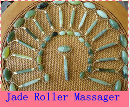 Wholesale Face Massage Tools - 10PCS green jade massage head neck face foot roller tool  Cheap Free Shiping