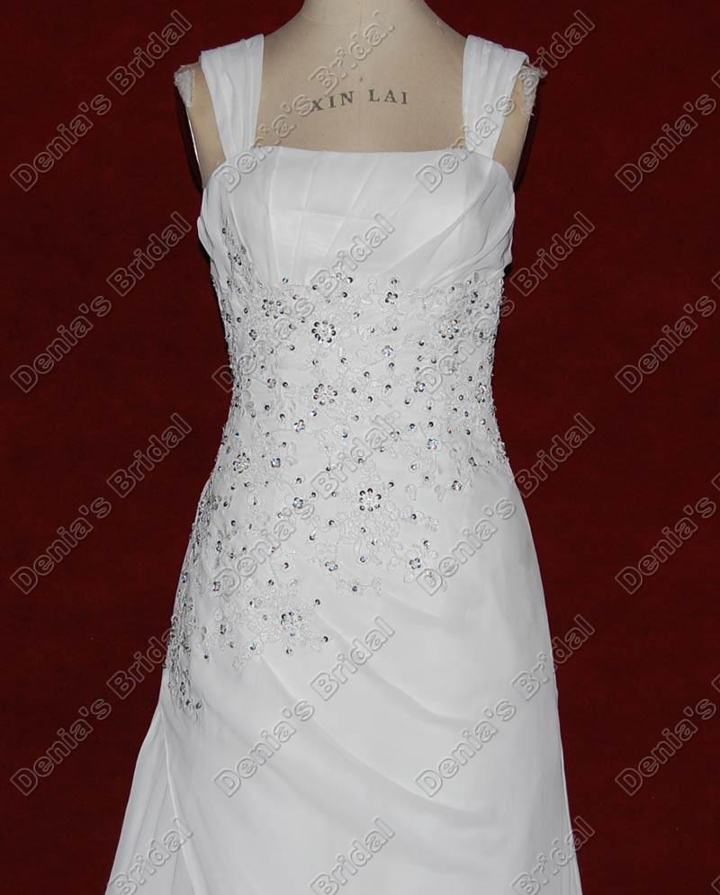 2012 une ligne robe de mariée en mousseline de soie Squre perlée dentelle Appliques tribunal Train Real Images réelles DB25