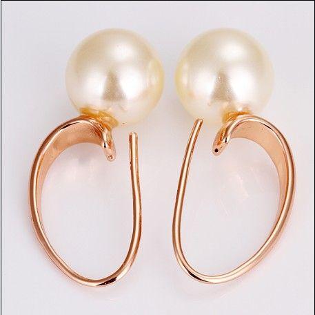 새로운 고품질 도금 18K는 황금 담수 진주 드롭 귀걸이를 보석 상위 10pair / lot 장미