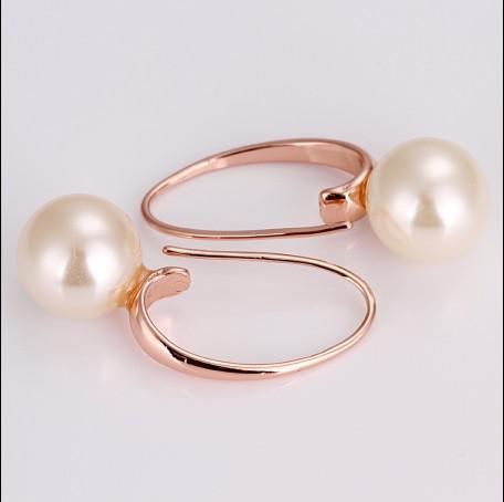 Gloednieuwe Hoge Kwaliteit Geplateerde 18K Rose Gold Freshwater Pearl Drop Oorbellen Top Sieraden 10 Paar / partij
