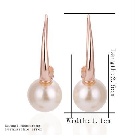 Nova marca de alta qualidade banhado a ouro rosa 18K brincos de pérola de água doce Top jóias 10 par / lote