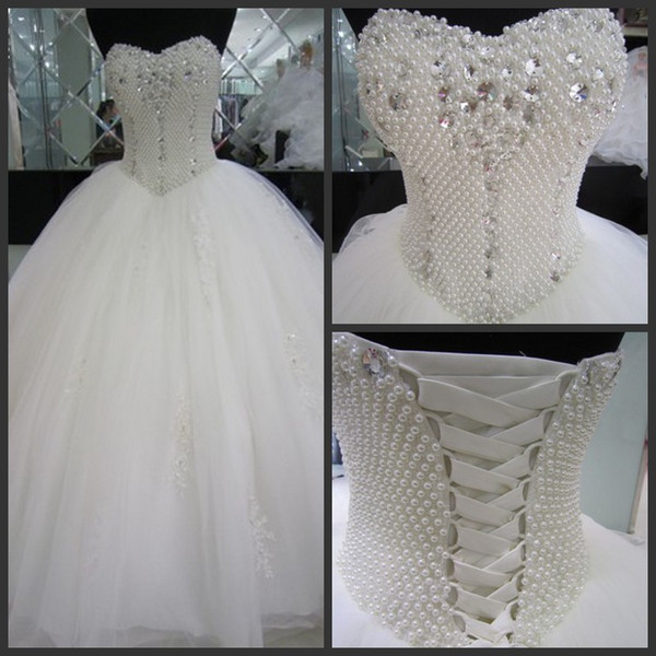 Princess Sweetheart Ball Gowns Pearls Beaded Appliqued White Tulle Destination Wedding Dress Gowns