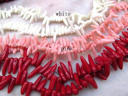 Coral Gemstone Beads Australia - 2strands 10-20mm Coral jewelry spikes horn shapr red white oranger pink mixed Necklace Gemstone Loose Beads