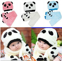 Wholesale Winter Kids Panda Hat - Baby Panda Hat+Scarf Two Piece Set Children Cartoon Panda Modeling Caps Kids Clothes Accessories