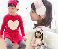 Wholesale Red Plaid Leggings - Girl's three- pieces suits Love heart suits long sleeve T-shirt + leggings+ kerchief 3 pcs 5 s l