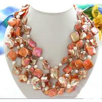 perlas cuadradas de agua dulce al por mayor-El nuevo llega el collar de perlas de agua dulce blanco de la cáscara de Jacinth Square Shell de la pulgada AA6-18MM de 4inch Envío libre