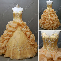 Wholesale Classic Closures - Puffy Quinceanera Debutante Dress Beaded Embroidery Lace Up Closure Floor Length Real Actual Image