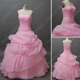 Wholesale Strapless White Dress Corset - Pink Quinceanera Debutante Dress Beaded Lace Appliques Corset Floor Length Real Actual Image QD003