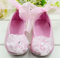 Wholesale Toddlers Ballet Shoes Pink - New! 30 pairs Pink Girl Ballet Shoes Toddler Baby Walking Pre-walker Shoes Size Flower Infants Shoes