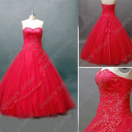 Wholesale Accent Black - Red Ball Gown Quinceanera Debutante Dress Beaded Lace Accent Floor Length Real Actual Image Quinceanera Gowns