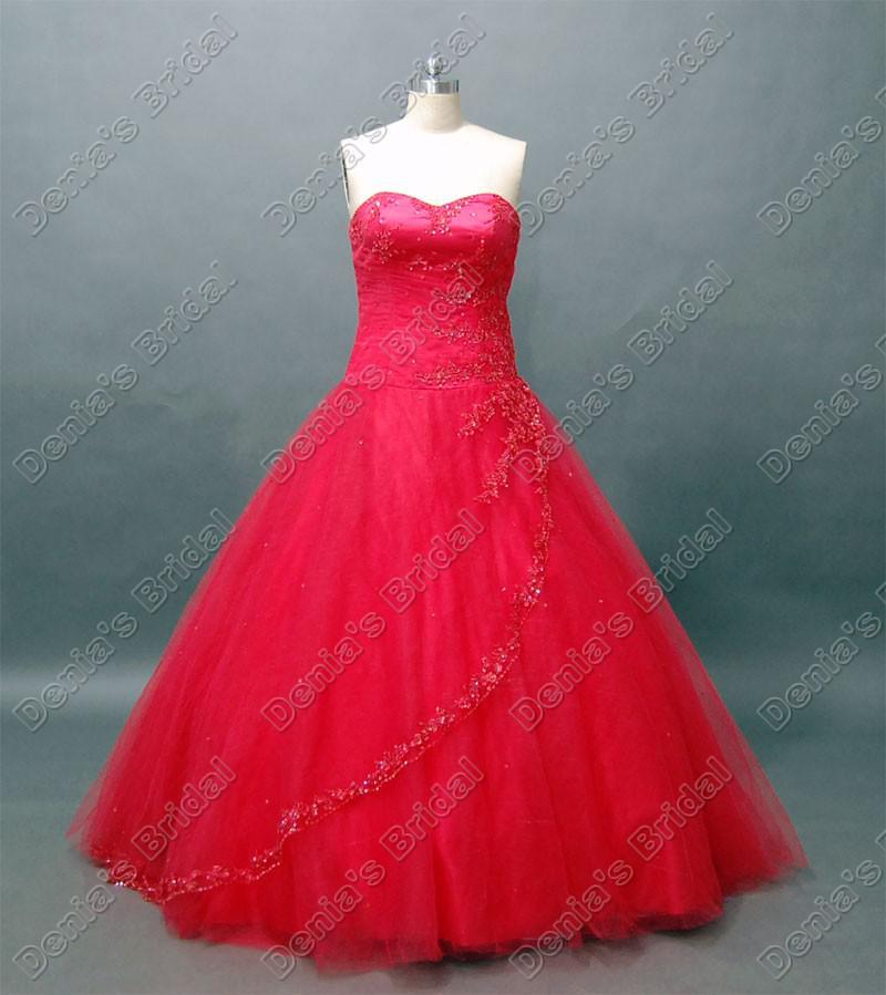 Red Ballkleid Quinceanera Debütantin Kleid wulstige Spitze-Akzent-Fußboden-Länge Echt tatsächliches Bild Quinceanera Kleider