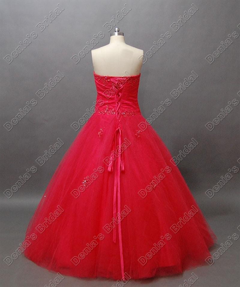 Rouge robe de bal Quinceanera Débutante robe dentelle perlée Accent étage longueur réelle image réelle Quinceanera Robes