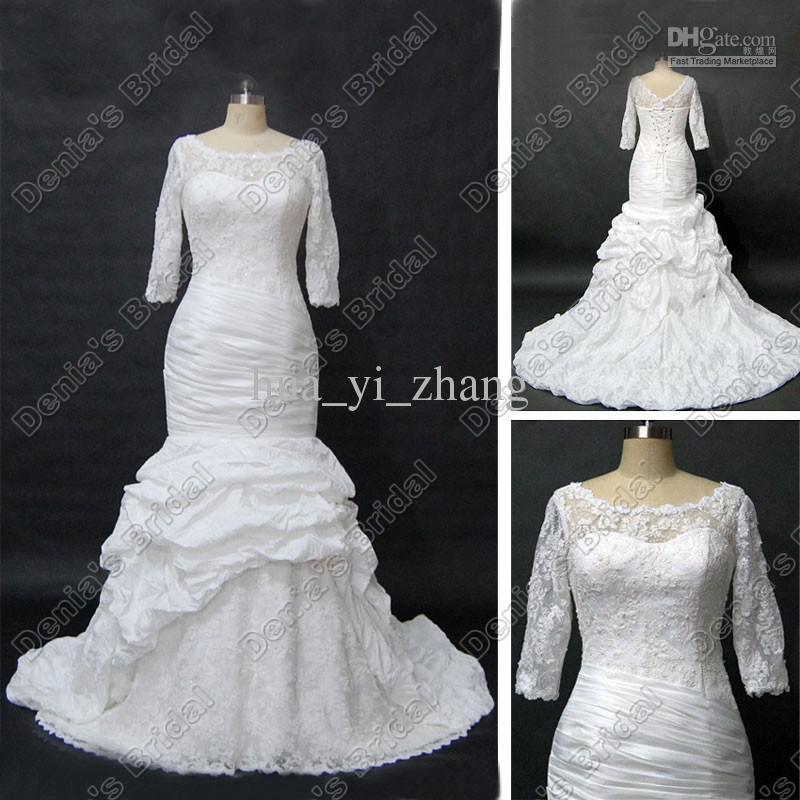 Modest Langarm Hochzeitskleid Schaufel Halsausschnitt Sheer Spitze Geraffte Taft Reale eigentliche Bilder DB47