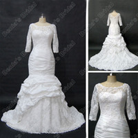 Wholesale Modest Taffeta Wedding Dresses - Modest Long Sleeve Wedding Dress Scoop Neckline Sheer Lace Ruched Taffeta Real Actual Images DB47