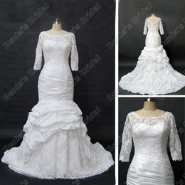Wholesale Red Portraits - Modest Long Sleeve Wedding Dress Scoop Neckline Sheer Lace Ruched Taffeta Real Actual Images DB47
